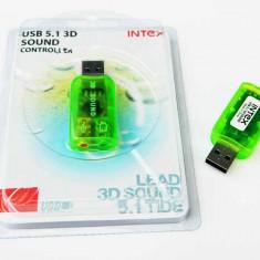 Placa de sunet PC, USB - PLACA SUNET USB VIRTUAL 5.1 CHANNEL 3D, instalare automata pe orice sistem NOUA