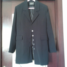 Sacou dama negru lung din stofa -stil jacheta