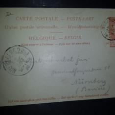 Carte postala circulata Belgia 1896 Oostende Bains Nurnberg