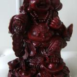 Superba statueta veche reprezentand pe Budha vesel cu palarie pe un munte de monede, stare perfecta, greutate 2, 5 kg, de colectie/decor. - Sculptura