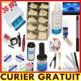 Kit manichiura set Unghii false Sina gel lampa uv 36w pila electrica