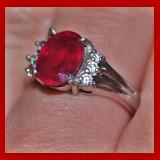 Inel argint 925 placat cu aur alb cu rubin rosu intens natural! model inel logodna!!