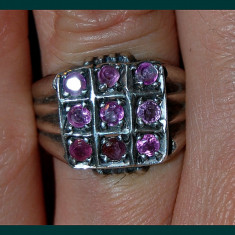 Inel vechi antic argint 925 cu pietre autentice de rubin rosu/rozaliu!! - Inel argint