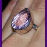 Inel argint - Imens! inel stralucitor argint 925 cu piatra semipretioasa roz pear cut!!!