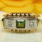 Inel aur, 14k - 585 inel de aur galben cu 0, 45 carate turmalina SI diamantE antic ANUL 1900