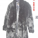 Palton dama, Negru, 44/46 - Haina blana, naturala, de iepure, absolut noua, neagra, de dama, marimea 42-46