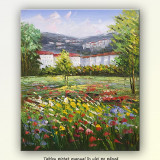 Peisaj cu flori, copaci si case - pictura in ulei, 60x50cm - Pictor roman, Peisaje, Altul