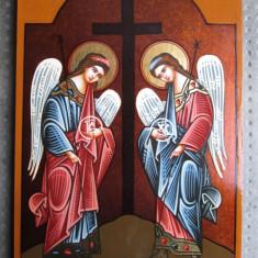 Icoana pictata pe lemn, Sfintii Arhangheli Mihail si Gavril - Icoana pe sticla