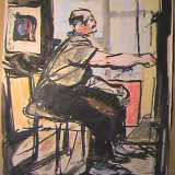 Acuarela pictor Corneliu Vasilescu - pictura tablou desen - Pictor roman, An: 1962, Portrete, Altul