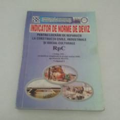Carti Constructii - INDICATOR DE NORME DE DEVIZ PENTRU LUCRĂRI DE REPARAŢII RpC 1999 VOL. I
