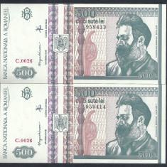 ROMANIA 500 LEI 1992 UNC !! SERIE CONSECUTIVA pret / 2 bucati necirculate