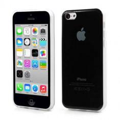 Husa TPU iPhone 5c Lucioasa Cu Logo Apple Neagra