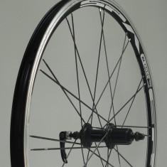 Piese Biciclete - Roata Spate, 26 inch, Velotec, Butuc Aluminiu, 24h, Prindere Pinioane pe Caseta, Ax cu QR Velotec