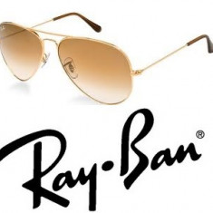 Ochelari de soare Ray Ban, Unisex, Maro, Metal, Protectie UV 100% - Ochelari Ray Ban Aviator + toc + laveta