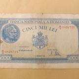 Romania 5000 Lei 15 Decembrie 1944 - serie R/3 - 0826723;filigran orizontal