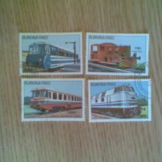 Timbre straine - BURKINA FASO (2447) - LOCOMOTIVE - timbre stampilate
