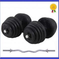 Gantere/Haltere - Set gantere cauciucate 2x20KG/Brat 40 KG + Bara cromata Z haltere 2x20 kg 40kg