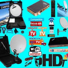 Sistem complet satelit - Antena Rulota/Camping cu wifi si iptv