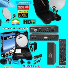 Sistem complet satelit - Antena Auto cu televizor si receptor hd compatibil, internet, focus sat si freesat