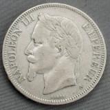 5 Franci (Francs) 1870 A - Napoleon III - Franta - Argint - 25 gr. - 900/1000, Europa