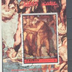 AJMAN PICTURA MICHELANGELO 1 COLITA stampilata dantelata 1972 - Timbre straine, Arta