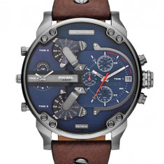 CEAS BARBATESC DIESEL ONLY THE BRAVE TIMEZONE DZ-7314 OVERSIZE SILVER MODEL NOU, Casual, Quartz, Inox, Piele, Data