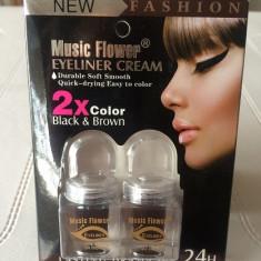Tus ochi crema Music Flower negru-maro si aplicator
