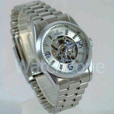 Ceas dama Automatic GOER White Edition CEL MAI MIC PRET Grantat, Casual, Mecanic-Automatic, Inox, Inox, Analog