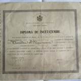 Diploma/Certificat - RARA! DIPLOMA DE INCETATENIRE DIN 1935