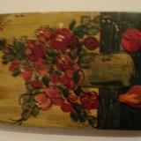 Pictura ulei pe lemn semnata - Pictor roman, An: 1980, Flori, Art Deco