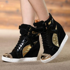 Ghete dama Casadei, Piele naturala - Sneakers dama cu platforma CASADEI - PIELE NATURALA