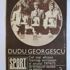 REVISTA SPORT DUDU GEORGESCU CU TROFEUL GHEATA DE AUR A EUROPEI DIN OCTOMBRIE 1975 - Revista barbati