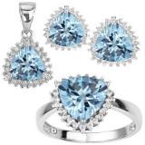 Set bijuterii argint - SET - INEL, PANDATIV, CERCEI - 0, 925 ARGINT cu DIAMANTE si pietre BLUE TOPAZ