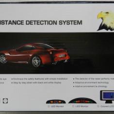 Kit Senzori de parcare auto 4 senzori, display led, avertizare audio, scala 7 linii, negru - NOU - Senzor de Parcare