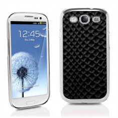 Husa, Samsung Galaxy S3, Negru, Plastic, Carcasa - Carcasa Negru BLING Diamant Piele Crocodil Samsung I9300 Galaxy S3 III + Folie De Protectie