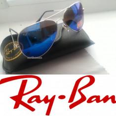 Ochelari de soare Ray Ban, Unisex, Albastru, Metal, Protectie UV 100% - Ochelari ray ban aviator sticla + toc ray ban + lavetica