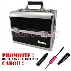 Geanta aluminium cosmetica si manichiura Fraulein38 Germania Jet Black + CADOU - Geanta cosmetice