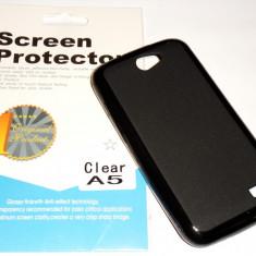 Husa Silicon Gel Tpu Allview A5 Duo + Folie de protectie CADOU! - Husa Telefon Allview, Negru