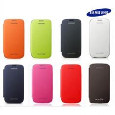 Husa Flip Originala Samsung Galaxy S3 Mini + Folie Protectie - Husa Telefon Samsung, Maro, Piele Ecologica, Carcasa