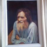 Tablou pictat pe panza - old man pictor roman an 2000 - Reproducere, Portrete