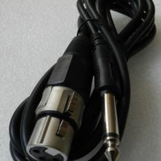 Cablu audio profesional microfon XLR 3 pini mama la JACK 6.3 - 3 metri - Amplificator audio