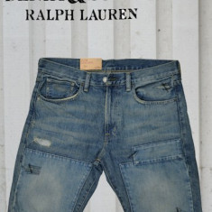 Blugi barbati, Scurti, Cu aplicatii, Slim Fit, Normal - Pantaloni scurti blug Ralph Lauren Polo Distressed Slim talie 31 si 32