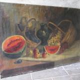 Natura statica, fructe, Pictura veche in ulei pe panza dimensiuni mari - Pictor roman