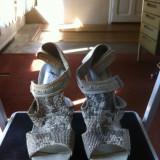 Sandale damă, toc înalt, 38, Culoare: Argintiu, Textil