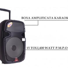 BOXA PROFESIONALA AMPLIFICATA, MIXER, MP3 PLAYER, STICK USB, MICROFON WIRELESS, 400W. - Echipament karaoke