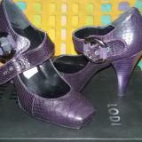 Vand pantofi piele dama - Pantofi dama, Marime: 35, Culoare: Mov, Piele naturala