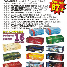 Foite tigari - PACHET MIX COMPLETE - Aparat de injectat tutun, tuburi tigari, tabachera
