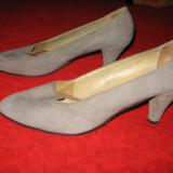 Pantofi piele naturala intoarsa, toc mediu, Mar 40,5