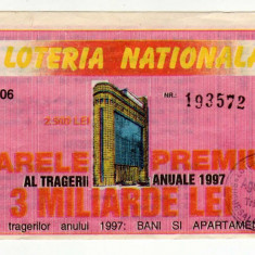 BILET LOTO LOTERIA NATIONALA 2500 LEI 1997 - Bilet Loterie Numismatica
