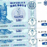 bancnota europa, An: 2009 - SV * Moldova (LOT) 2 x 5 LEI 2009 UNC serii consecutive